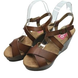 NWT EDL Pop Brown Ankle Strap Wedge Sandals 7.5